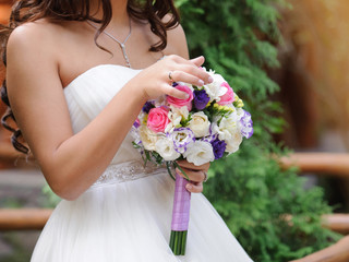 Bride with Violet Bouquet