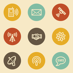 Communication web icons, retro circle buttons