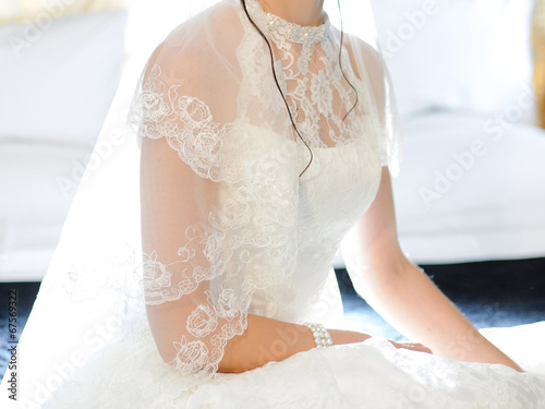 canvas print picture Bride's Lace Wedding Dress