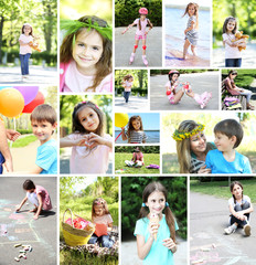 Collage of photo with children playing outside