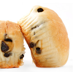 Sweet bun,raisin bun isolated on white