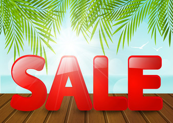 Summer background with sale message