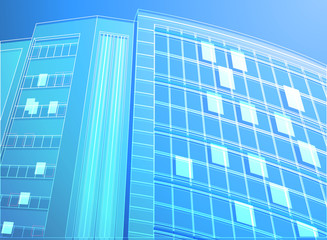 Office building wireframe on a blue background