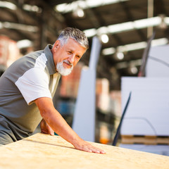 Man choosing and buying construction wood in a  DIY store