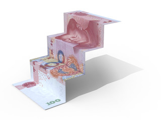100 yuan banknote folded as steps