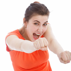 Excited woman punching with her fists