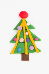 Christmas Tree from children bright plasticine