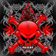 Fire Skull Tribal Tattoos