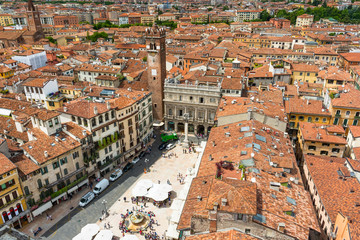 Aerial view of Piazza delle Erbe in center of Verona, Italy