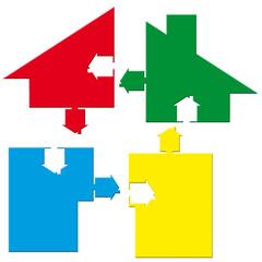 logo maison, pièces éclatées