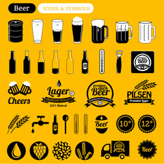 beer icons & design elements, vintage labels, signs