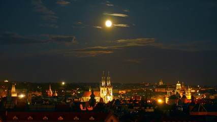Night Prague view. Full moon. Time lapse