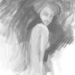Naked Woman / Monochrome painting