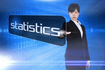 Businesswoman pointing to word statistics