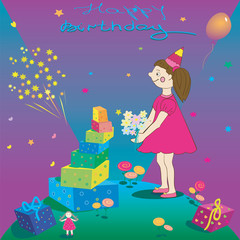 Happy Birthday. Illustration of gift girl and salute