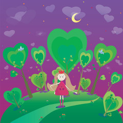 Illustration of little princess with magic wand
