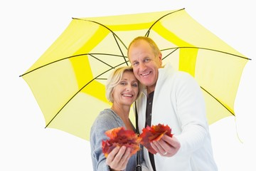 Happy mature couple showing autumn leaves under umbrella