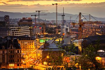 Abendstimmung über der Stadt – Zürich