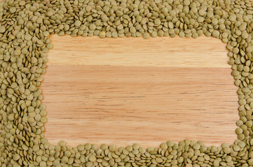lentils, on wood, background