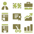 Finance web icons, olive mix set