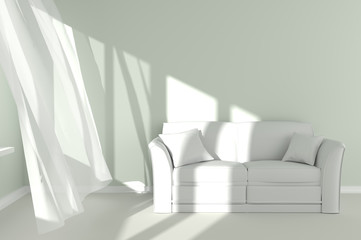 Modern Room Interior with white curtains and couch