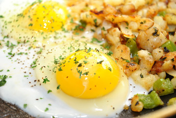 Close-Up of Eggs and Potates in a Pan