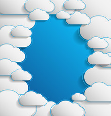Elegant empty clouds on blue background