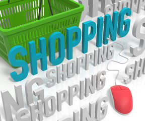 Shopping with Computer Mouse and Shopping Basket