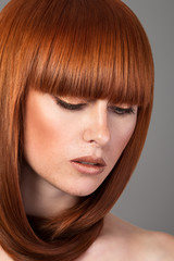 Closeup portrait of red haired woman