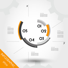 orange infographic template with axis