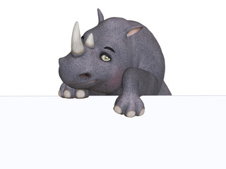 3d cartoon rhino with a blank board