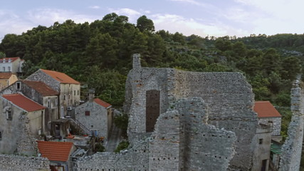 Roman ruins on island Mljet, fly over