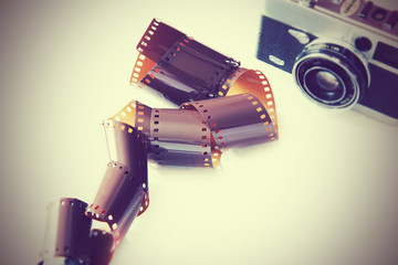 retro 35mm film and camera