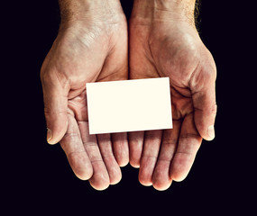 blank business card in hands