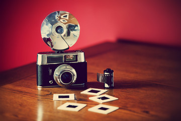 vintage camera on table