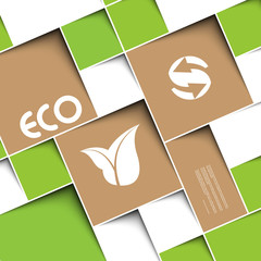 Square green background with ecology signs