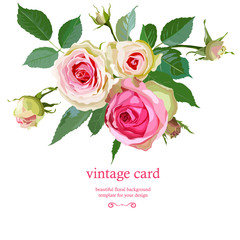 Floral Background with Vintage Label.
