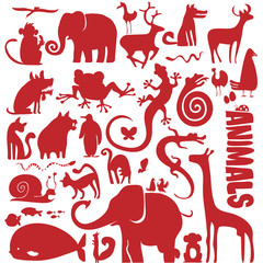 funky animals vector collection - silhouettes