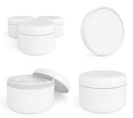 set jar or blank packaging for cosmetic product