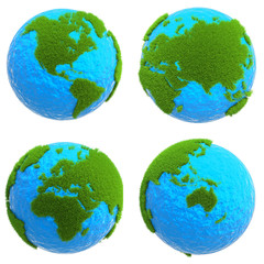 globe background with green grass