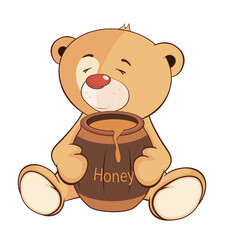 A stuffed toy bear cub and a barrel of honey cartoon