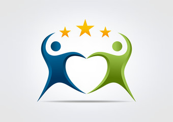teamwork creative success logo body heart star