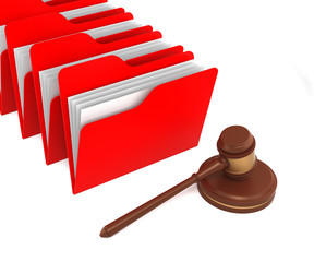 Red Folders with Gavel