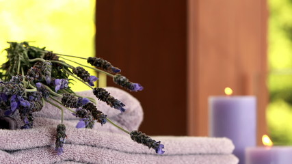 Dried lavender on purple towels