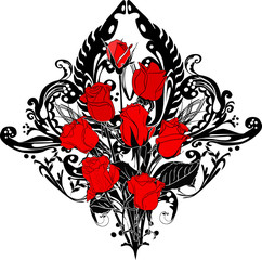 black and red rose ornament with eight flowers