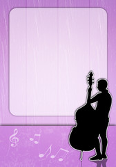Man with cello silhouette