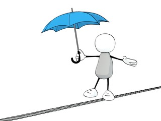 little sketchy man with a blue umbrella balancing on a rope