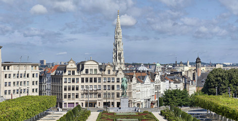 Morning panorama of Brussels from Mont des Arts