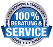 """Button """"100% Beratung & Service"""" blau"""