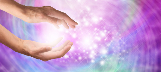 Beautiful sparkling healing energy banner